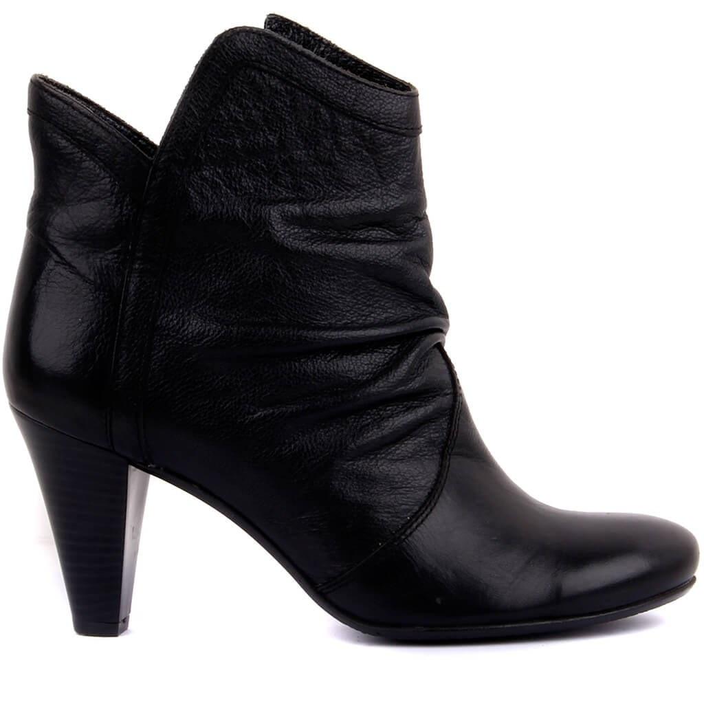 Sail-Lakers Black Leather Zipper Female Boots