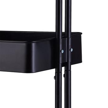 【Almacén de ee.uu. 】 carrito de utilidad de 3 niveles de almacenamiento de cocina hogareña con mango-Negro