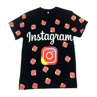 Sweatshirt unisex for boys and girls from 11 to 15 years with logo Instagram. Trend 2020