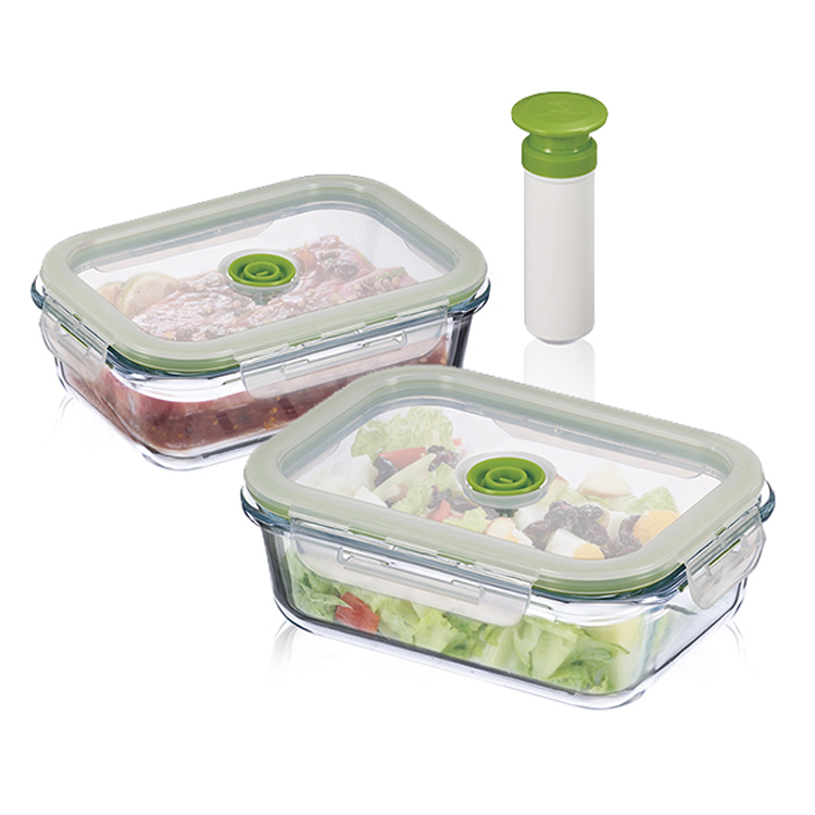 2 Pcs Glass Vacuum Fresh Box kitchen Storage <font><b>Containers</b></font> Microwave Oven Lunch Box Taiwan Made With Pump image