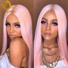 Yomagic perucas de cabelo sintético, brilhante, cor rosa, perucas frontal, com linha de cabelo natural, longo, reto, cosplay, sem cola