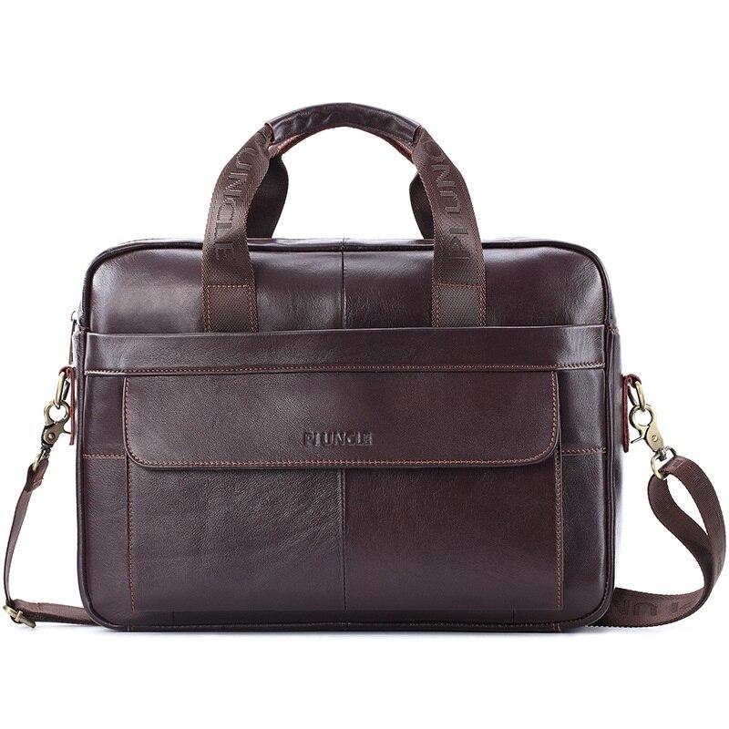 Male Laptop Shoulder Bags Genuine Leather Briefcase Men Bag Business Handbag Crossbody Bag 14inch Messenger Bag Tote Handbag