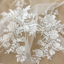 10 pairs Delicate bridal veil lace applique with clear sequins, pacth wedding dress bodice