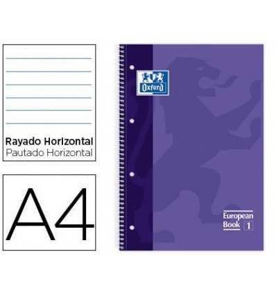 NOTEPAD SPIRAL OXFORD LID EXTRADURA MICROPERFORADO DIN A4 80 SHEETS HORIZONTAL STRIPED COLOR LILAC