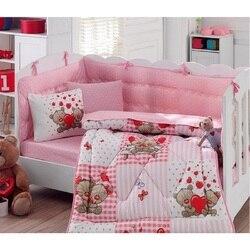 In Der Türkei TEDDY Infant Baby Krippe Bettwäsche Set Stoßstange Für Junge Mädchen Kindergarten Tier Babybett Baumwolle Weiche Antiallergic rosa