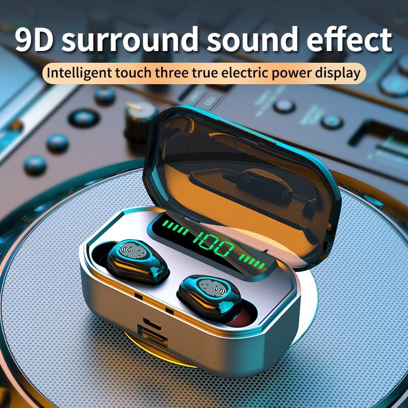 TWS наушники Bluetooth 5,0, сенсорные наушники с распознаванием отпечатков пальцев, HIFI 9D стерео, светодиодный дисплей питания, спортивные водонепр...