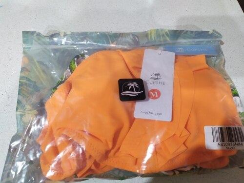 CUPSHE Orange Ruffle Bikini Sets With Floral Bottom Sexy Swimsuit Two Pieces Swimwear Women 2020 Beach Bathing Suit Biquinis|Bikini Set|   - AliExpress