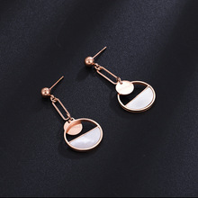 Vintage New Korean Fashion Hollow Round Stainless Steel White Semi-Circle Rose Gold Color Long Dangle Earrings for Women Jewelry