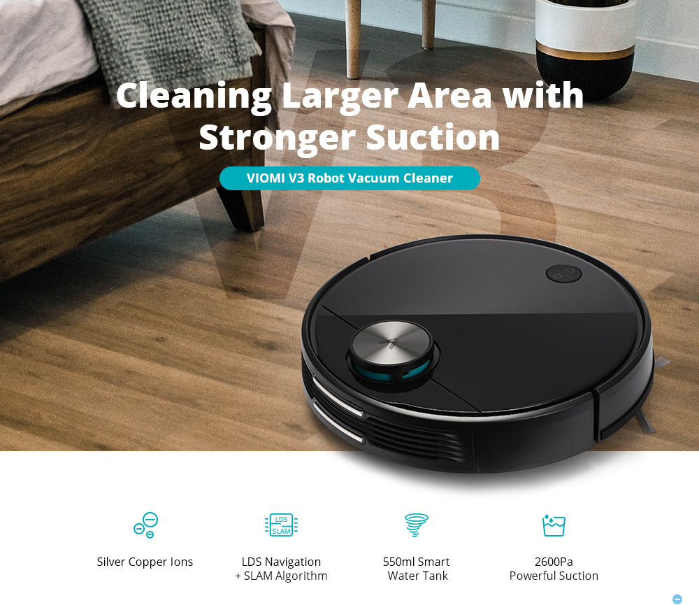 VIOMI V3 Robot Vacuum Mopping, 2600Pa, Quiet, Self-Charging Robotic Vacuum Cleaner, Cleans Hard Floors to Medium-Pile Carpets1