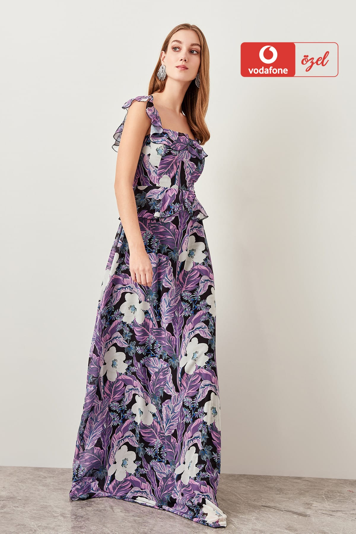 Trendyol Flower Pattern Evening Dress TPRSS19FZ0144