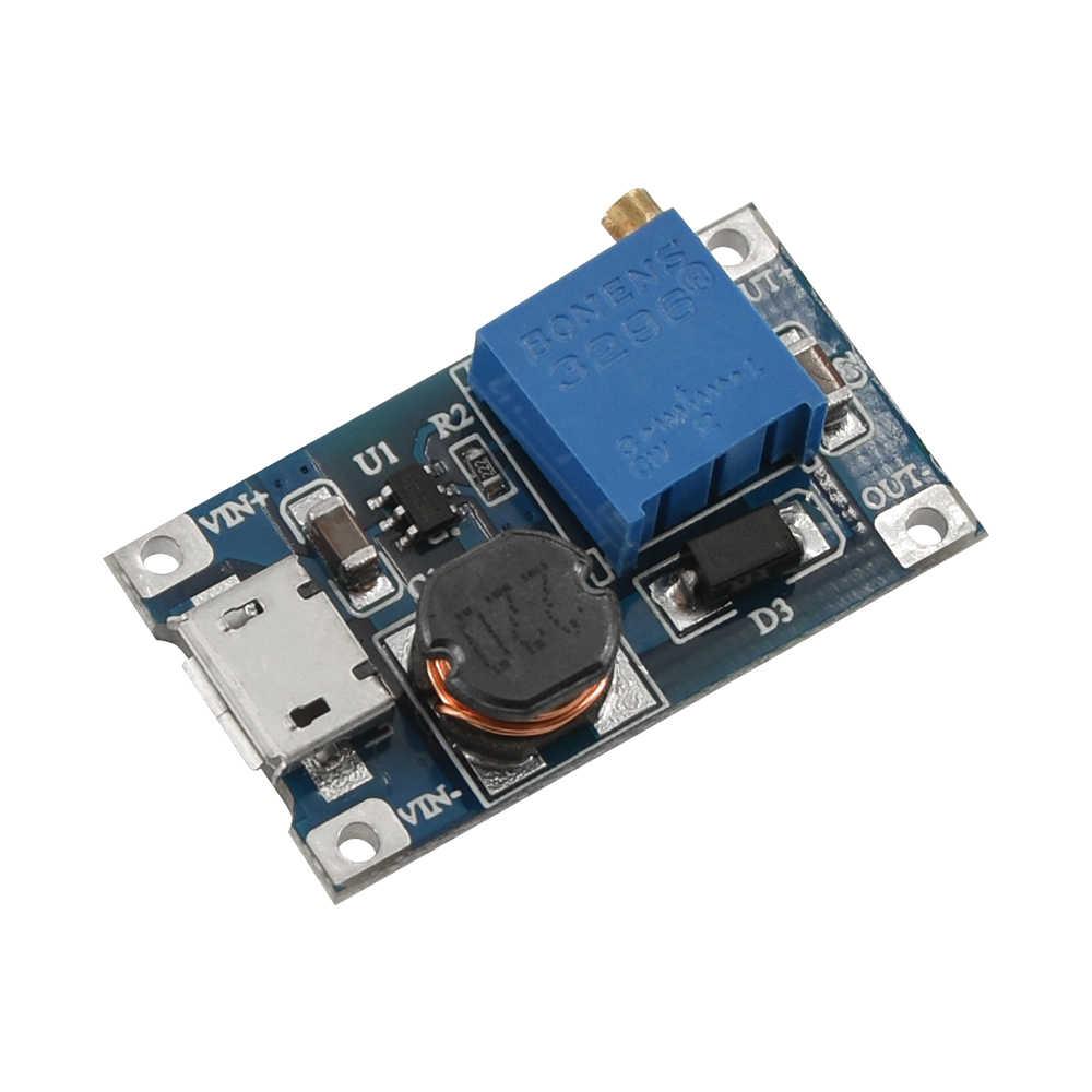 Mt3608 DC-DC intensifique o módulo da fonte de alimentação do impulsionador do conversor impulsiona a saída máxima da placa step-up 28 v 2a para arduino