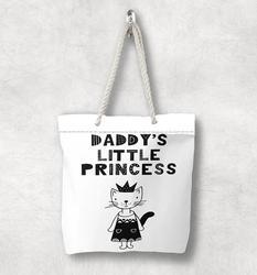Else черная белая Daddys маленькая принцесса скандинавский белая веревочная ручка Холщовая Сумка с мультяшным принтом на молнии сумка на плечо
