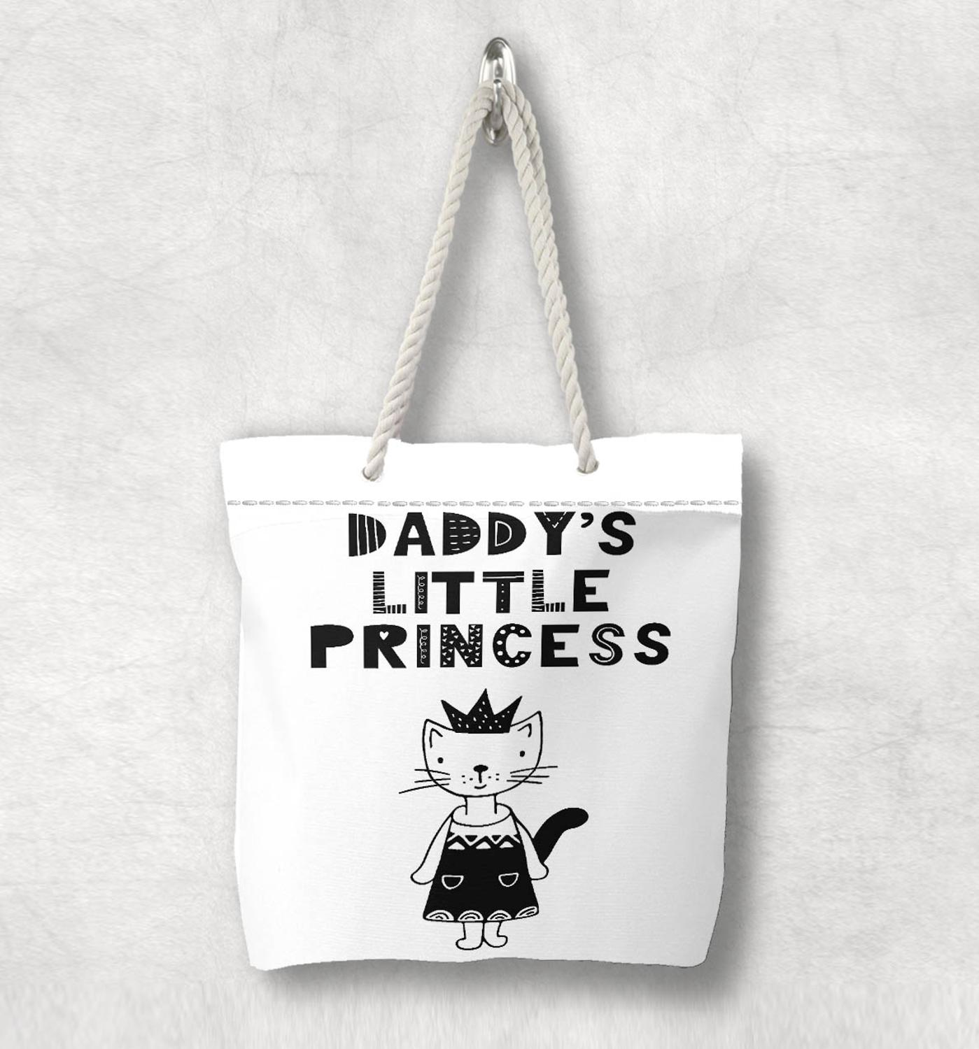 Else Black White Daddys Little Princess Scandinavian White Rope Handle Canvas Bag  Cartoon Print Zippered Tote Bag Shoulder Bag