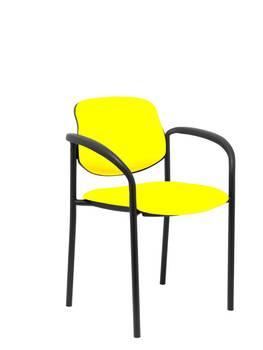 Besucher Stuhl 0,2-anzeige Drunter, mit arme und estructrua Negro-up sitz und backstop polster in tissue similpiel gelb P