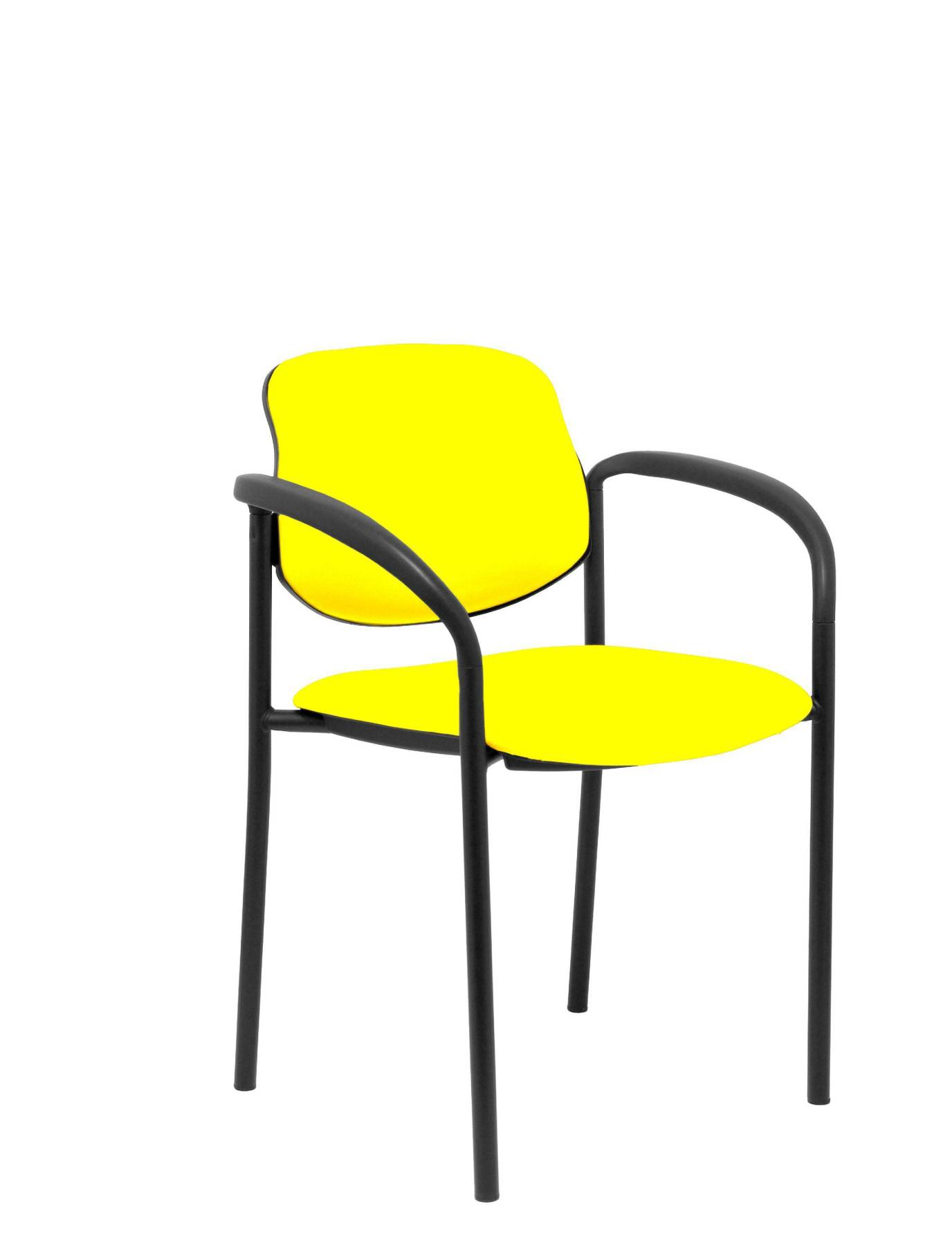 Visitor Chair 4's Topsy, With Arms And Estructrua Negro-up Seat And Backstop Upholstered In Tissue Similpiel Yellow P