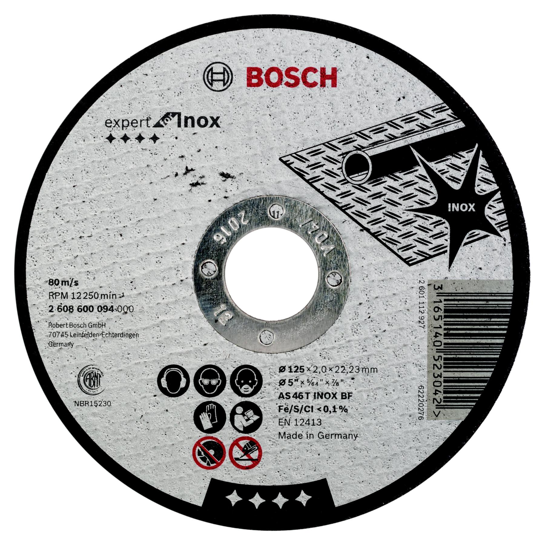 Circle Cutting BOSCH 125х2х22 Expert For Inox (2.608.600.094) 1 PCs