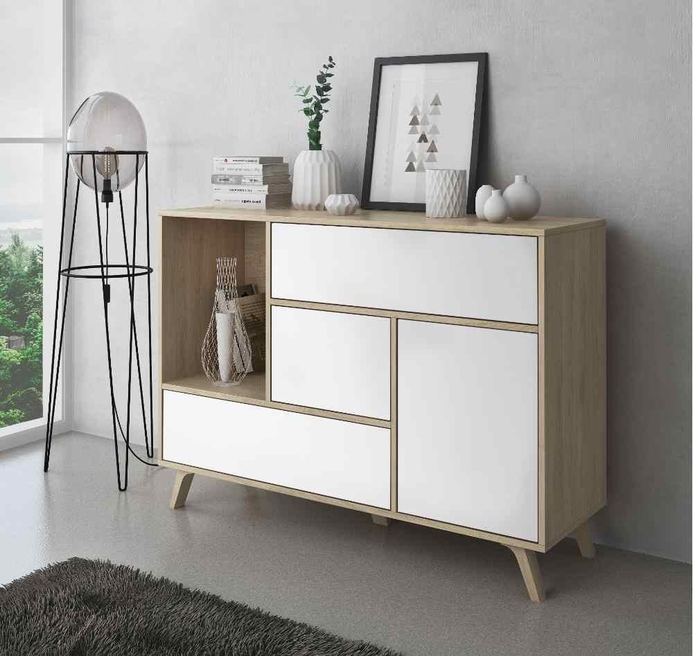 home innovation commode salle a manger salon buffet vent couleur structure puccini couleur porte et tiroirs blanc 120x40x86cm