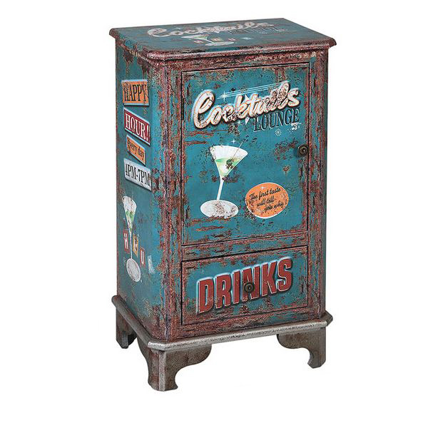 Side Table Cocktails 116268 Retro Blue (75 X 44 X 30 Cm)