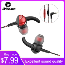 цена на Wiresto In Ear Earphone Wired Earbuds Heavy Bass Headset  Soundproof Earplugs Noise Canceling HIFI Sound Quality