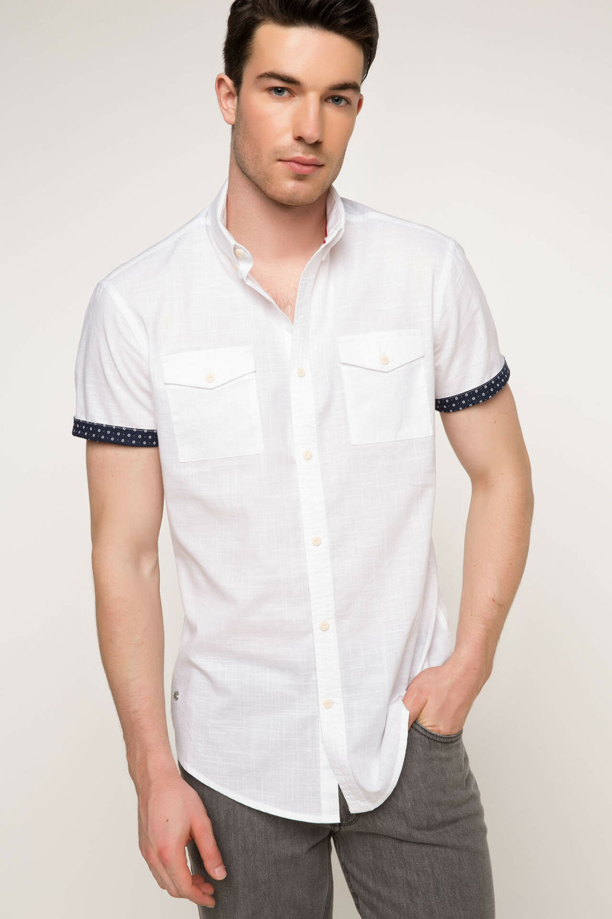 DeFacto Summer Man Short Sleeve Shirt Casual Male Fashion Lapel White Blousers Men's High Quality Shirts New - G7213AZ17SM