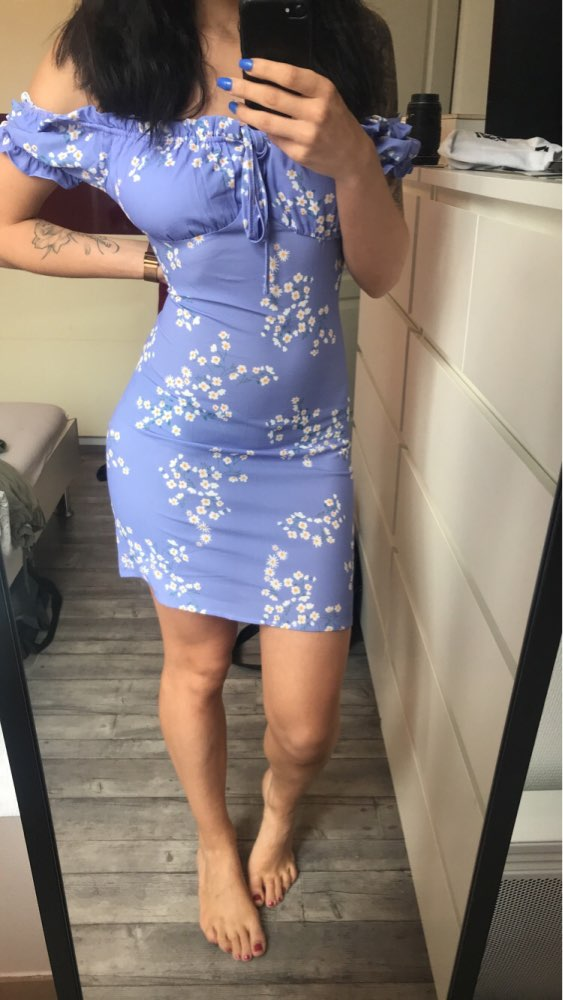 Summer Dress Women Mini Sexy Bodycon Dress Frill Off Shoulder Tie Floral Print Beach Dress Sundress Short Sleeve Ladies Dresses photo review