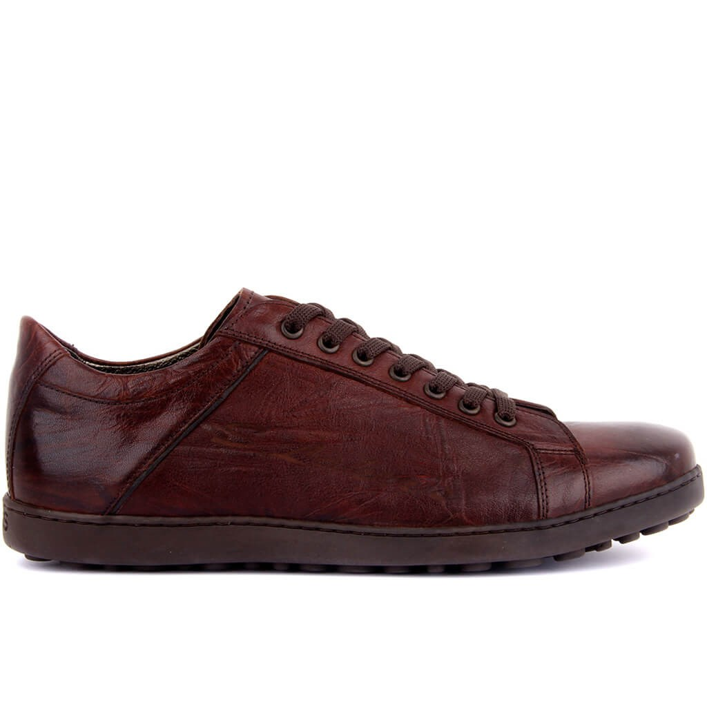 Sail Lakers-Red Coffee Leather Men 'S Casual Shoes