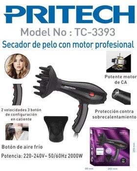 Secador de pelo profesional y fuerte viento y secador de pelo profesional y secador de salón... soplador de martillo 2000W Negro