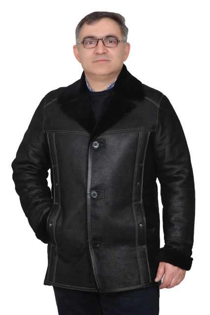 2019 Negro hombres chaqueta de esquilar grueso aviador abrigo genuino envío gratis