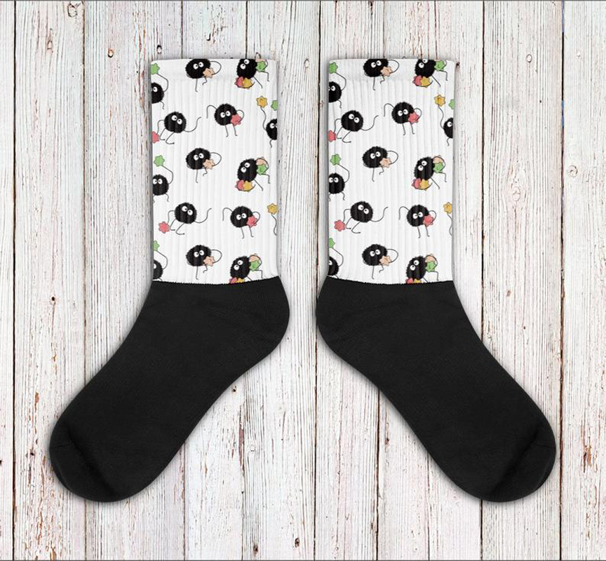 Soot Sprite Inspired Socks, Spirited Away, My Neighbor Totoro, Studio Ghibli