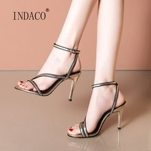 Sandals Women 2020 Leather Women Sandals High Heel Sandals for Women 9cm faux leather mini heel sandals