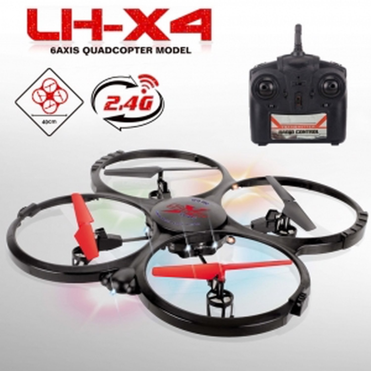 Quadcopter LH-X4 2,4ghz 4 channel 6-axis gyroscope 32,5cm x 32,5cm size x 6,5cm