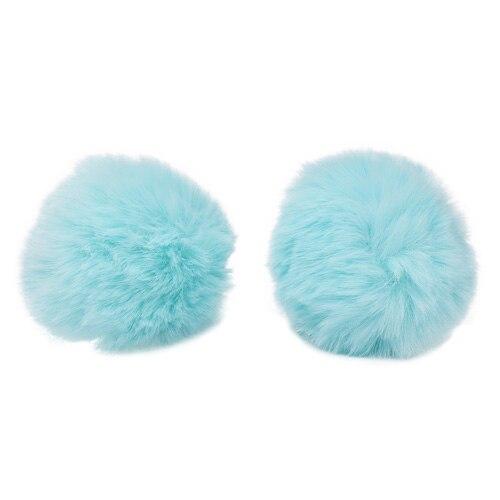 Pompon Made Of Artificial Fur (rabbit), D-8cm, 2 Pcs/pack (C St. Turquoise)
