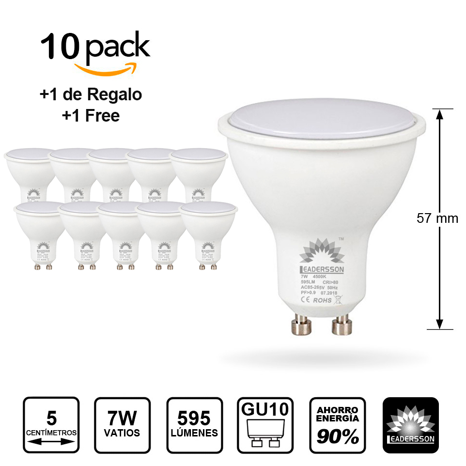 Pack 10 Bulbs Leadersson LED Low Consumption BERLIN GU10 & Middot; Floor Lamp Led 7W & Middot; 1 Bulb GIFT [energy Class: A +]