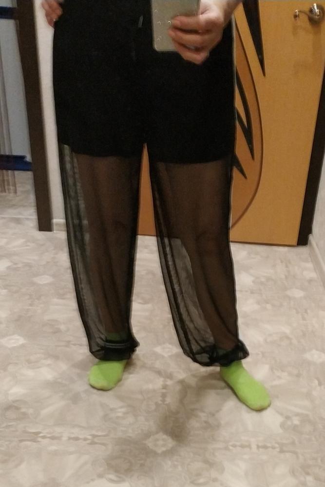 Casual Black Drawstring Waist Mesh Overlay Striped Sheer Sweatpants Sporting Pants Women Summer Long Carrot Trousers Pants photo review