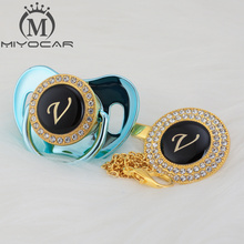 MIYOCAR name Initial letter V elegant silver bling pacifier and clip BPA free dummy unique design SGS pass LV