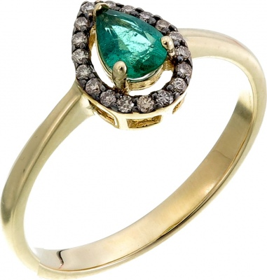 Sargon Jewelry Drop Ring With Emerald And Diamonds In Yellow Gold