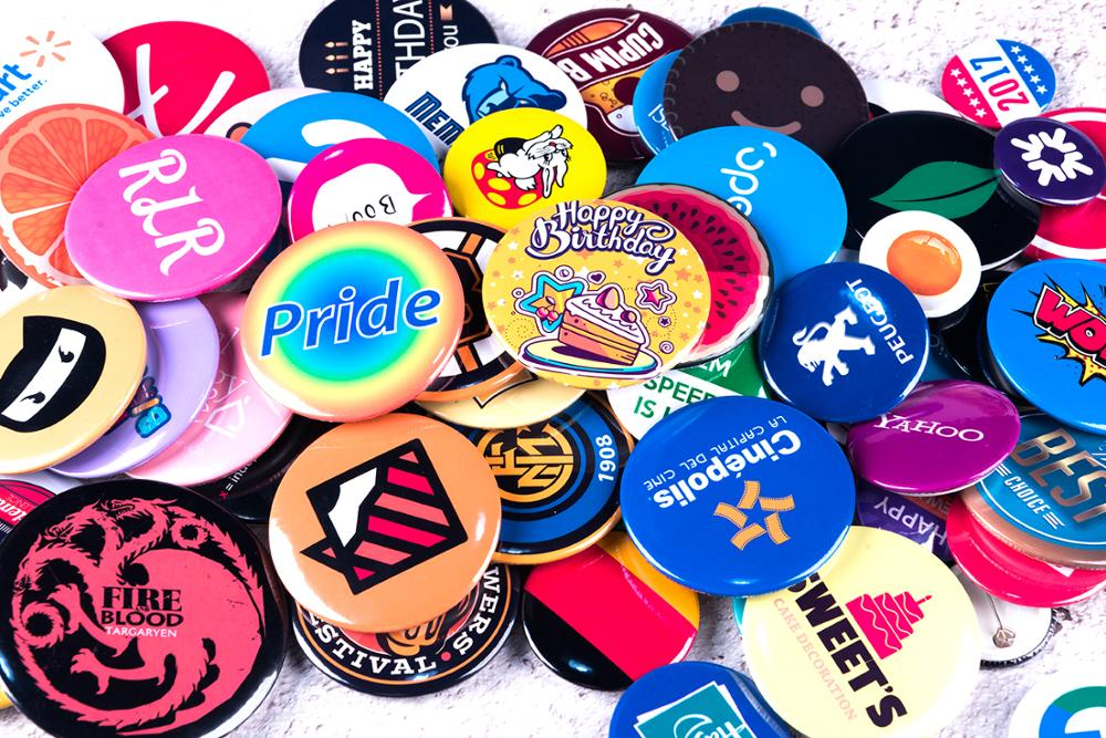 No MOQ Custom Button Badges Pin-back Buttons Supplies For Bag Pack DIY Customize Brooches For Promotional Gift Badges