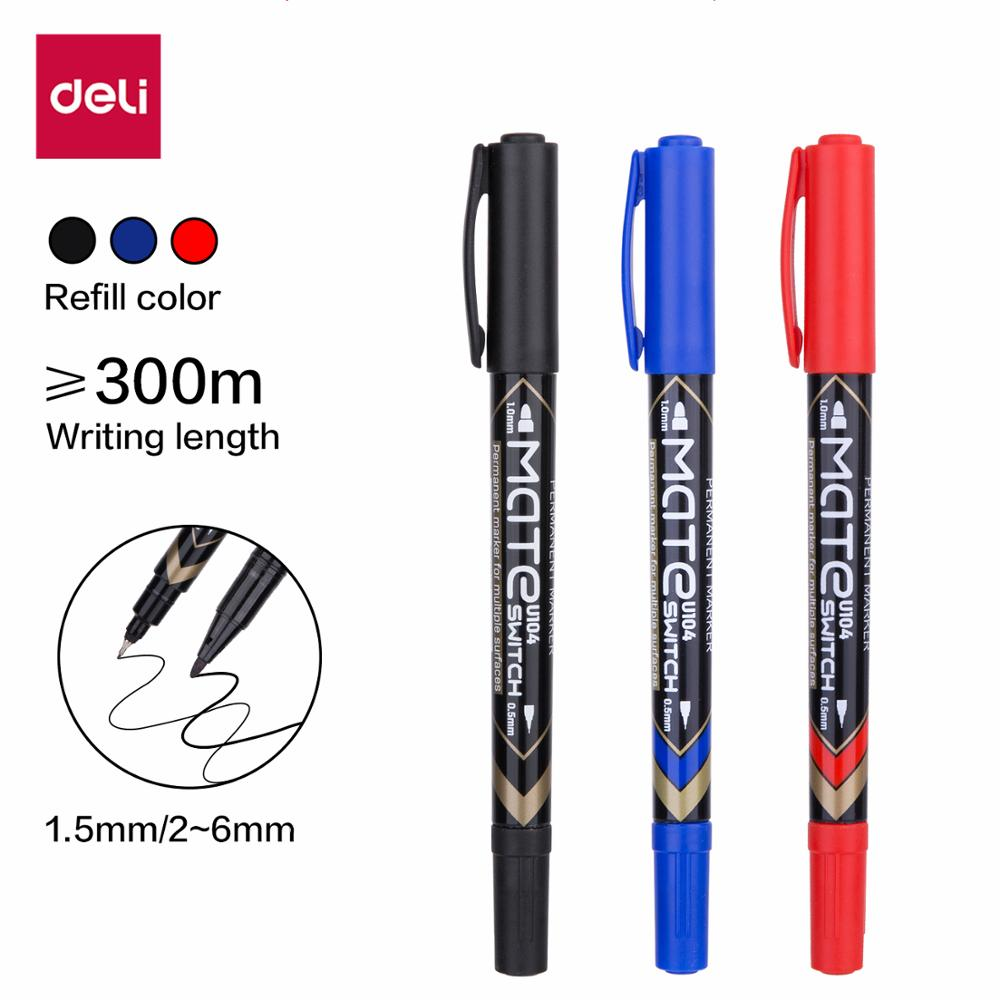 DELI Permanent Markers dual tip 0.5mm/1mm EU104 black blue red water proof fast dry office stationery permanent sign marker pens