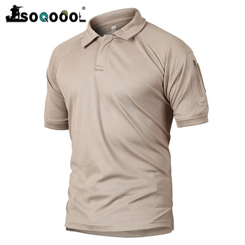 Soqoool Men Military Polo Shirt Breathable Army Combat Tactical Camouflage Male Quick Dry Short Sleeve Shirts