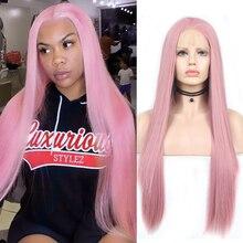 Парик с прямыми волосами, парики на сетке спереди с естественной линией волос, розовый парик из высокотемпературного волокна, синтетически...