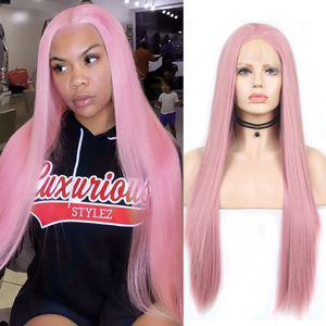 Charisma Straight Hair Wig Lace Front Wigs with Natural Hairline Pink Wig High Temperature Fiber Synthetic Wig for Women