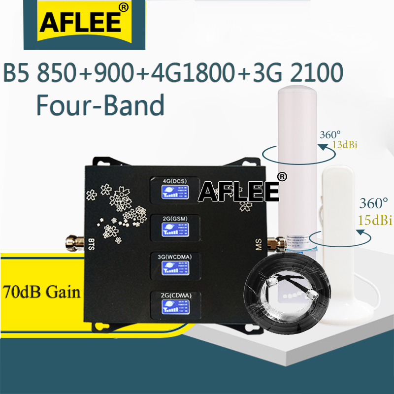 B5 850 900 1800 2100 Mhz Cell Phone Booster Four-Band Mobile Signal Repeater 2G 3G 4G GSM Cellular Amplifier CDMA DCS WCDMA Set