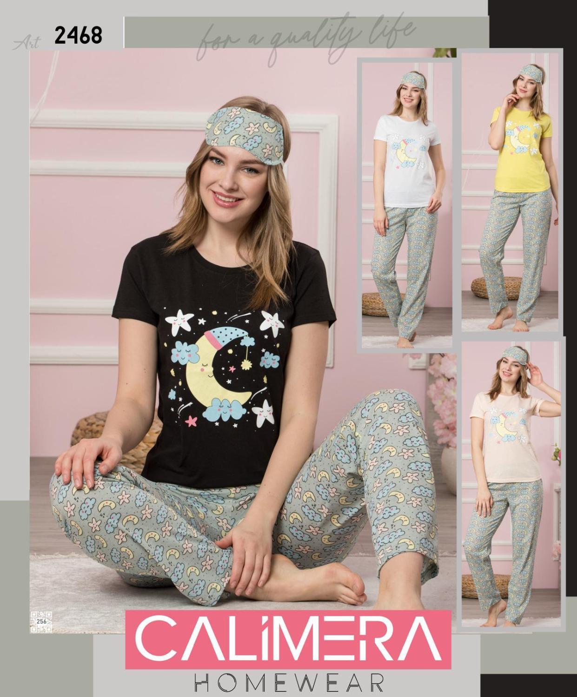 Pajamas 3 Sets Women Long Sleepwear Tshirt  Sleeping Strip Moon Thin Carton Generation  Suit Home Women Gift