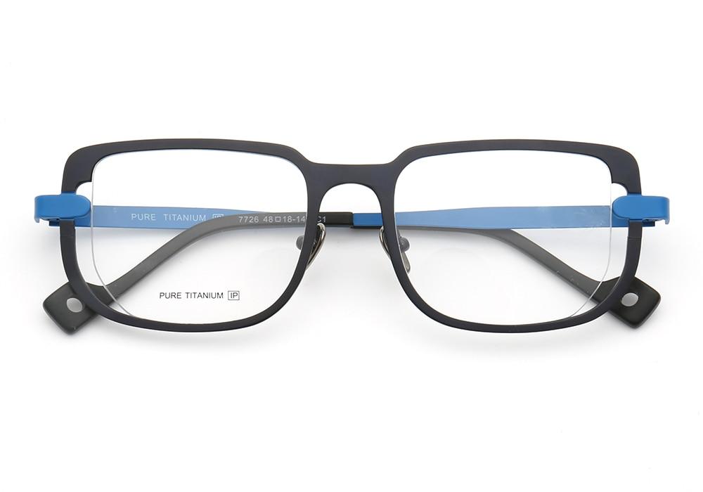 Mens Womens Square Full-Rim Pure Titanium Business Classic Retro Old-school Casual Lightweight Eyeglass Frames Blue Red Brown