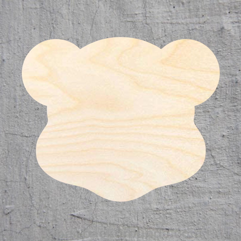 Teddy Bear Laser Cut Out Wood Shape Craft Supply Unfinished