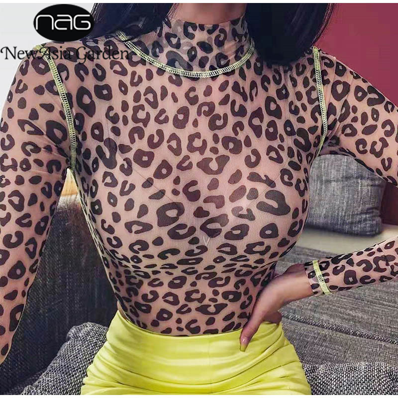 NewAsia Leopard Bodysuit Women See Through Print Sheer Mesh Sexy Jumpsuit Turtleneck Long Sleeve Rompers Party Overalls 2019 New