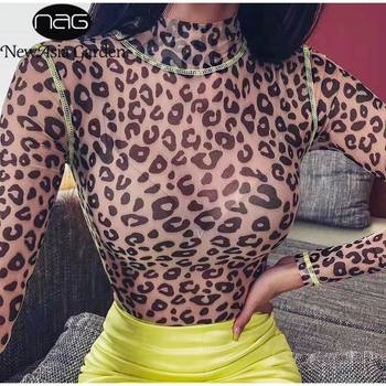 NewAsia Leopard Bodysuit Women See Through Print Sheer Mesh Sexy Jumpsuit Turtleneck Long Sleeve Rompers Party Overalls 2019 New 2020 new fashion women mesh sheer long sleeve see through shirt jumpsuit bodysuit party club dress stretch leotard blouse tops