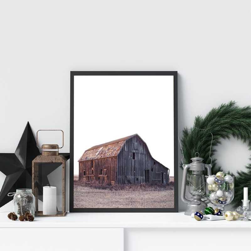 色ファームポスターやプリント干し草赤納屋ファーム牛農業クリスマス壁アートキャンバスの絵画の写真素朴な家の装飾