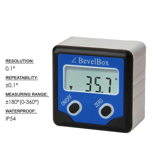 Inclinómetro de buscador de ángulos con 3 imanes de disco resistentes, caja de bisel Digital resistente al agua