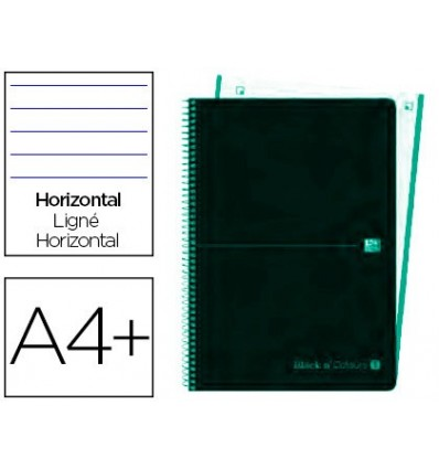 SPIRAL NOTEBOOK OXFORD EBOOK 4 PLASTIC CAP DIN A4 + 120 H HORIZONTAL BLACK'N COLORS ICE MINT 5 Pcs